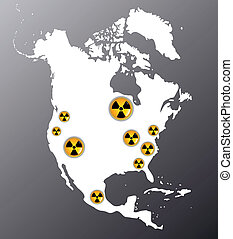North America with the signs of radiation - Map of North...