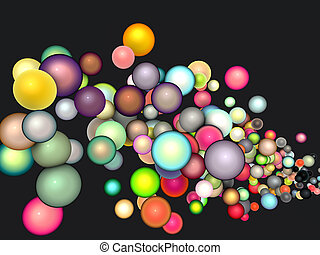 3d render strings of floating glossy sphere in multiple colors