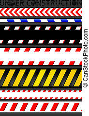 Caution tapes, seamless strip. Warning line, vector design