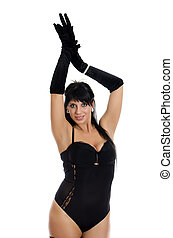 Seductive woman in black lingerie with gloves. Isolated on white.