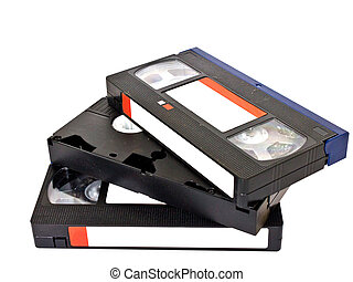 old VHS video cassettes isolated on white background - old...