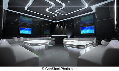 Cyber interior room - the Nightclub interior design with the...