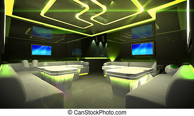 Yellow cyber interior room - the Nightclub interior design...
