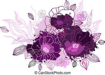 Hand drawing floral background Vector illustration isolated