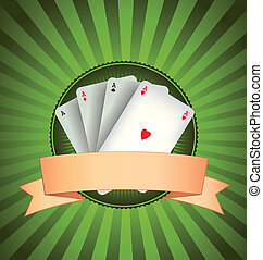 Casino Poker Aces Banner - Illustration of a vintage banner...