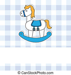 rocking horse  - Cute baby card with rocking horse