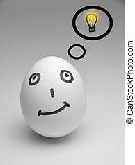 Yaiki and Idea - Egg with the drawn shone bulb, is shown,...