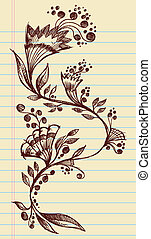 Sketchy Doodle Flowers and Vines