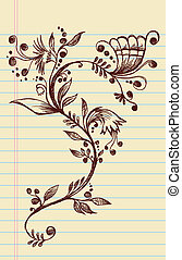 Sketchy Doodle Flowers and Vines - Sketchy Doodle Elegant...