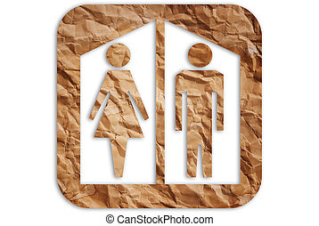 Toilet symbol. - Image of toilet symbol from paper.