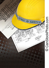 Helmet of constructor with blueprints building construction