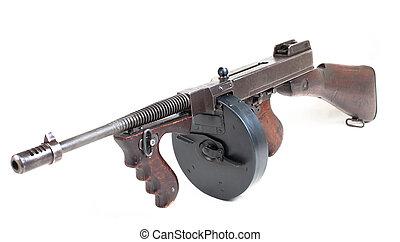 mashine gun - old submashine gun isolated on white...