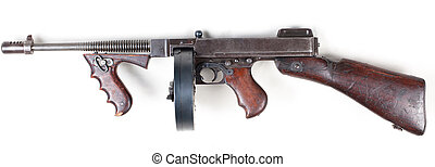 old mashine gun - old 30s gangster mashine gun isolated on...