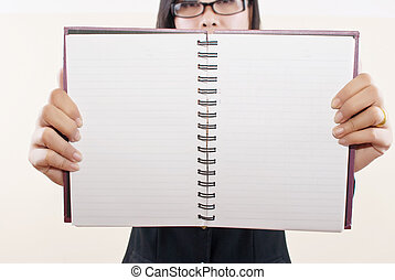 Lady show blank notebook - Image for people and business...