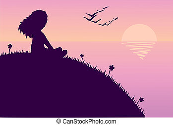 On the nature - Illustration of the girl sitting on a hill...