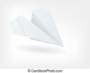 The paper plane from a sheet of paper in a cage