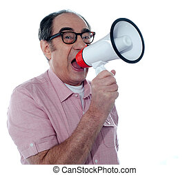 Senior casual male with megaphone - Senior male screaming...