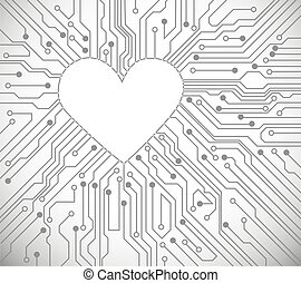 Heart from circuit - Circuit board with in heart shape...