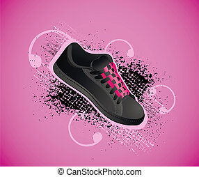 Background with gym shoes - Violet background with gym shoes...