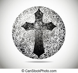 Magic abstract sphere of fine lines with a cross