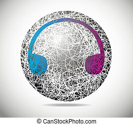 Magic abstract sphere of fine lines with earphones
