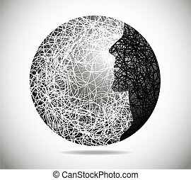 Magic abstract sphere with the face of males