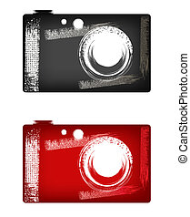 Camera (grunge) - Camera illustration in style grunge (black...