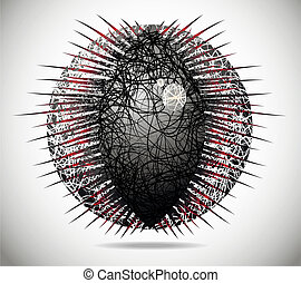 Magic abstract sphere of thin lines with thorns