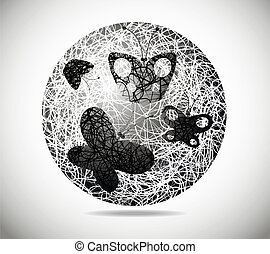 Magic abstract sphere - The magic abstract sphere with four...