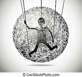 Magic abstract sphere of fine lines with marionette