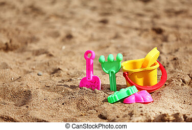 Plastic toys for the kids on the beach