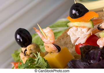 Canap?s with seafood - Canap?s with mussel meat, cheese,...