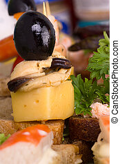 Mediterranean canap?s - Canap?s with mussel meat, cheese and...