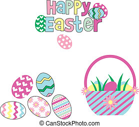 happy easter - Easter eggs on a white background,colored...