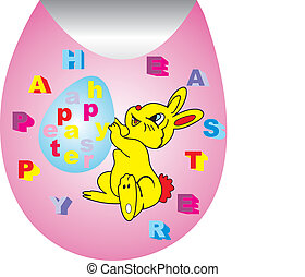 happy easter - Easter eggs on pink sticker,the yellow rabbit...
