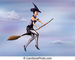 Witch riding her broom - Illustration of a young witch...