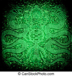 Dragon on grunge background - Abstract Dragon grunge wall...