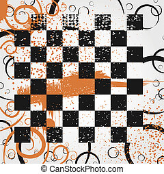 Board in the grunge style - Abstract background of a chess...