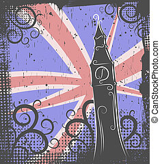 Big Ben background - Background in grunge style to the Big...