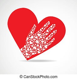 Boundless love - Image heart with a palm also from hearts...