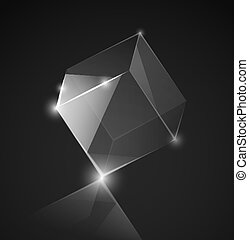 Glass cube - Vector glass cube on the gray background. Eps...