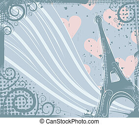 In Paris - Abstract background in grunge style to the Eiffel...