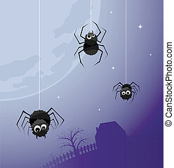 Night life - Illustration of three spiders on the background...
