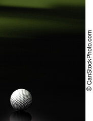 Close up of a golf ball over a black and green background with noise at the top of the picture, the golfball is located at the bottom left of the image, there is room for text and reflection