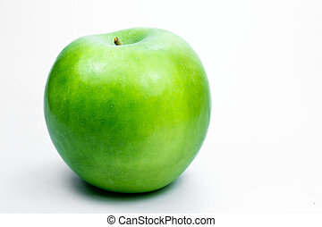 granny smith apple - a green apple on a white background