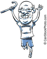 Senior Runner - An active, cartoon senior man celebrates...