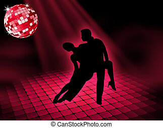 Disco dancing - Couple dancing on a very bright disco...