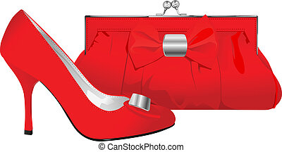 elegance - vector realistic red shoe and purse on white...