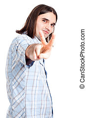 Confident man gesturing v sign - Young happy confident man...