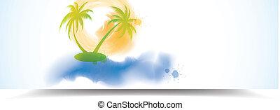 Watercolor summer banner